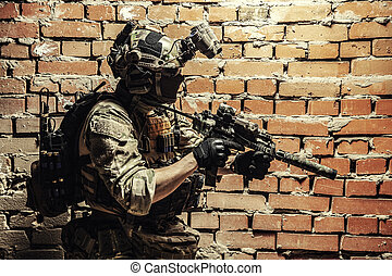 Military soldier moving sqb black ops operation