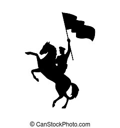 military soldier waving flag in horse silhouette isolated icon