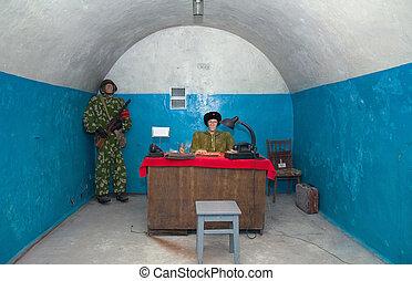 Military soviet bunker - Soviet man in uniforms in military...