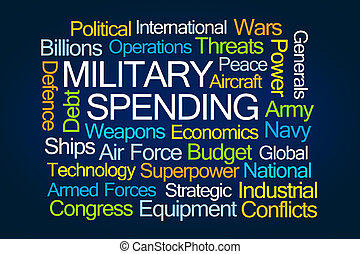 Military Spending Word Cloud on Blue Background