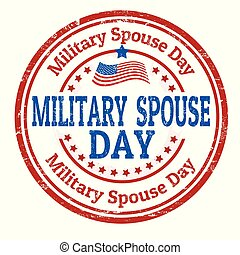 Military spouse day sign or stamp on white background,...