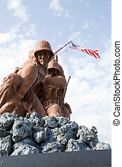 Military Statues - Military statues planting the flag at a ...