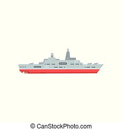 Military steam ship with artillery and radar. Battle warship icon. Navy armored boat. Flat vector design. Graphic element for logo, website or mobile game