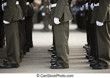 Military - Soldiers line up on the parade , selective focus