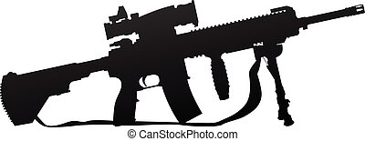 Military Style Automatic Rifle Silhouette Vector...
