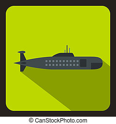 Military submarine icon, flat style
