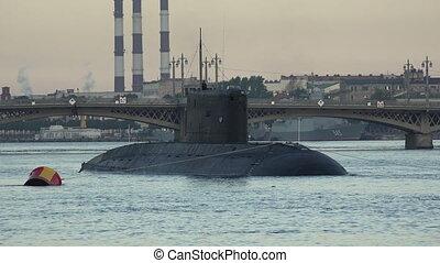 Military submarine. Neva. Petersburg. Shot in 4K (ultra-high...