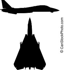 Military Swept-wing Fighter Jet Aircraft Silhouette