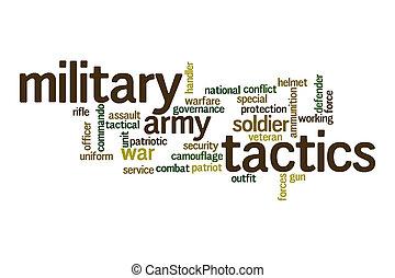 Military tactics word cloud concept