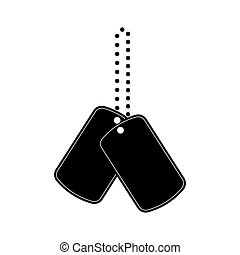 Military tag icon in black style isolated on white background. Weapon symbol stock vector illustration.