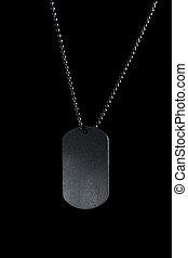 Military tag on black