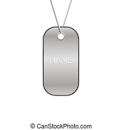 Military tag on white, vector army chain illustration. Metal blank steel identification necklace soldier or dog sign