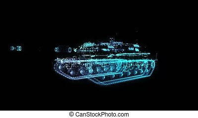Military Tank. Armoured Combat Fighting Vechicle. 4k animation. Glow points formation of 3d Model Army Tank.