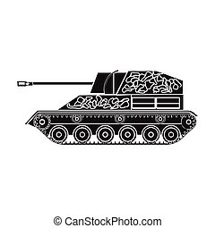 Military tank icon in black style isolated on white background. Military and army symbol stock vector illustration