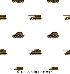 Military tank icon in cartoon style isolated on white background. Military and army pattern stock vector illustration