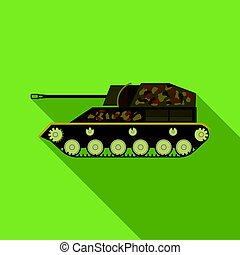 Military tank icon in flat style isolated on white background. Military and army symbol stock vector illustration