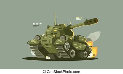 Military tank in fire - Military combat tank in fire with...