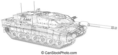 Military Tank - isolated over a white background