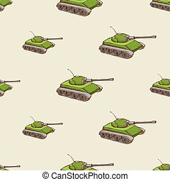 Military tank seamless pattern
