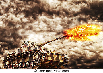 Military Tank firing with dark storm clouds in background, concept of war and conflict.