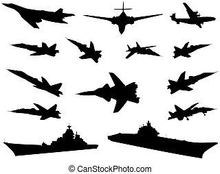 Military technics - Silhouettes of military technics of...