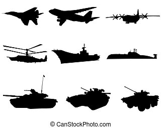 Military technics - Silhouettes of military technics of...