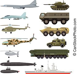 Military technics vector army transport plane and armored tank or helicopter illustration technical set of armored aviation and armoured submarine isolated on white background
