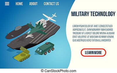 Military technology concept banner, isometric style