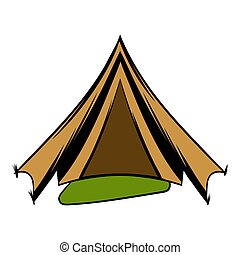 Military tent icon cartoon