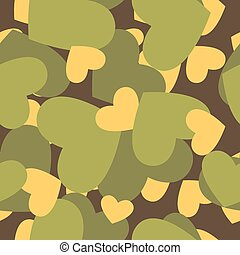 Military texture for love. Camouflage army seamless pattern from silhouettes of heart. Soldiers seamless background for soldier of love for Valentines day.