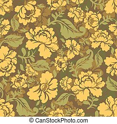 Military texture Khokhloma. Protective Army ornament. Russian National Soldier background. Camouflage seamless pattern for soldiers clothing. khaki flower