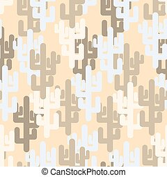 """Military texture of cactus. Camouflage army """"desert"""" of silhouettes of plants. Vector seamless pattern."""