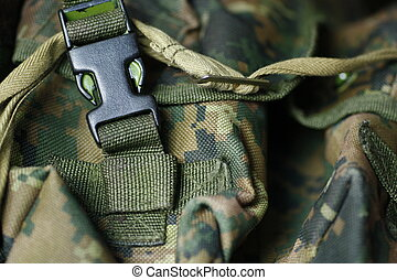 military texture of tactical vest - Detail of modern green...