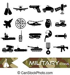 military theme simple black icons set eps10