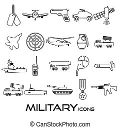 military theme simple black outline icons set eps10
