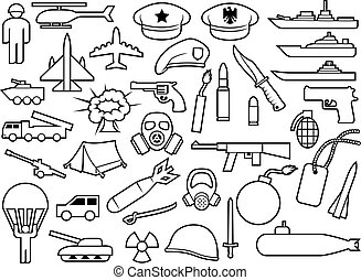military thin line icons: knife, handgun, bomb, bullet, gas mask, sword, helmet, captain hat, explosion, dynamite, tent, machine gun, military beret, armoured personnel carrier, aircraft, battleship, plane