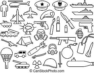 military thin line icons: knife, handgun, bomb, bullet, gas mask, sword, helmet, captain hat, explosion, dynamite, tent, machine gun, military beret, armoured personnel carrier, aircraft, battleship, plane