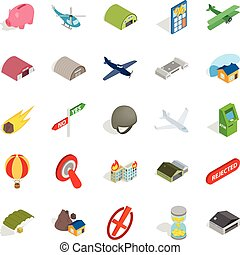 Military training icons set, isometric style