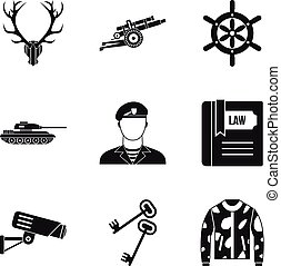Military training icons set, simple style