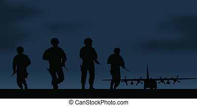 Military transport aircraft and a group of soldiers.