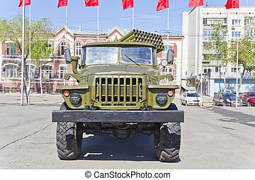 Military transport at the exhibition - Military machine at...