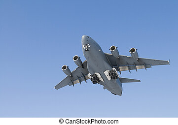Military Transport Plane coming in for a landing - with copy...