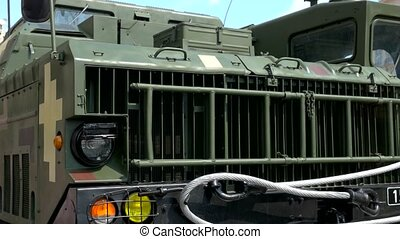 Military truck bumper close up. Close up of new military ...