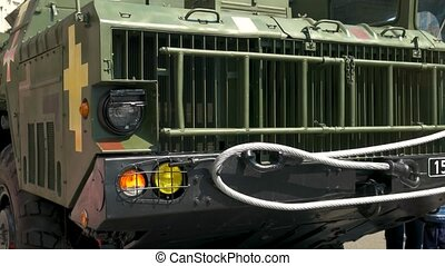 Military truck bumper close up. New modern military ...