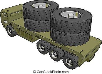 Military truck, illustration, vector on white background.