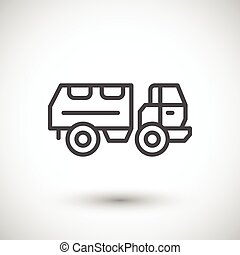 Military truck line icon