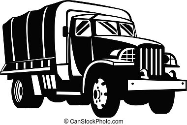 Military Truck Military Vehicle Personnel Transport Retro Woodcut Black and White