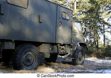 Military Truck - A military trucked viewed from the side