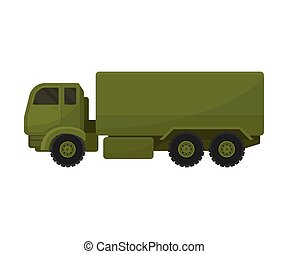 Military truck with a big van. Vector illustration on a white background.
