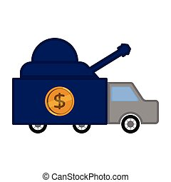 Military truck with a dollar coin